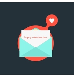 open envelope with happy valentine day on red vector image vector image