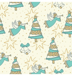Pattern with angel bells and christmas tree vector