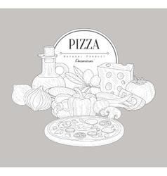 Pizza Ingredients Vintage Sketch vector image vector image