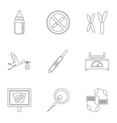 pregnancy icons set outline style vector image