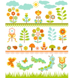Set of floral border vector image vector image