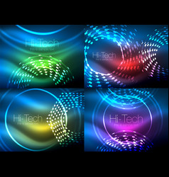 set of glowing neon techno shapes abstract vector image
