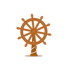 ship sailboat steering wheel cartoon vector image