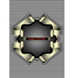 Silver frame for the badge on striped background vector image vector image