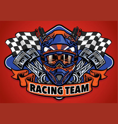 skull wearing motocross helmet racing team vector image vector image