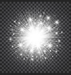 sunburst in silver color on transparent vector image vector image