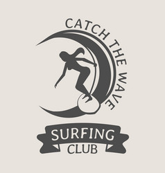 Surfing club logo or symbol design with woman vector