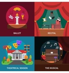 Theatre concept icons set vector
