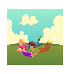 two girls reading book anf playing with mobile vector image vector image
