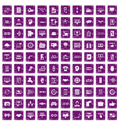 100 interface icons set grunge purple vector