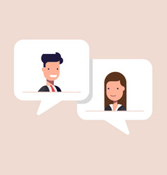man and woman chatting in speech bubble vector image