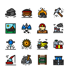 coal mining icons set vector image