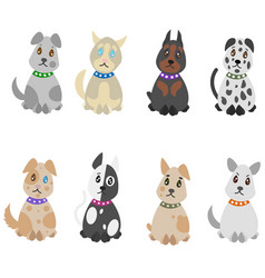 colorful hand drawn pets set vector image