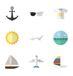 Flat icon season set of spectacles yacht vector