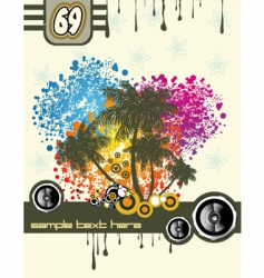 Tropical music disco flyer vector