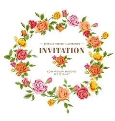 Vintage Roses Frame Card vector image
