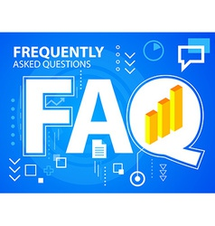 Bright faq and bar chart on blue background vector