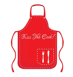 Red apron with text kiss the cook vector