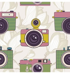 Vintage cameras seamless pattern vector