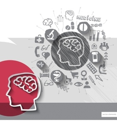 Hand drawn brain icons with icons background vector image