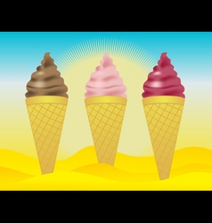 Ice creams in sand vector