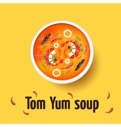 Tom yum kung - thai spicy soup top view vector