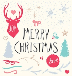 Hand drawn merry christmas elements set vector