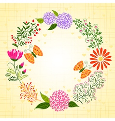 Springtime colorful flower and butterfly vector