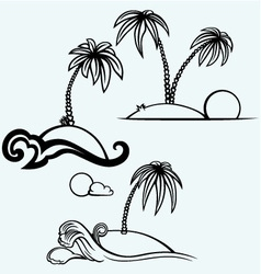 Tropical islands with palm trees vector