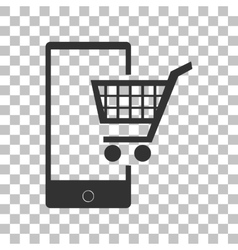 Shopping on smart phone sign dark gray icon on vector