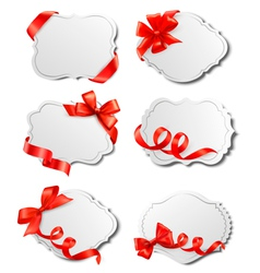 Set of beautiful cards with red gift bows with vector