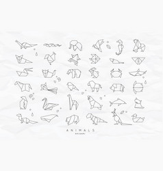 Animals flat origami set crumpled vector