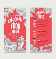 Asian food restaurant menu sketch template vector