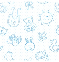 Baby toys cute cartoon set seamless pattern vector image vector image