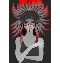 Beautiful girl in a headdress of feathers vector image vector image