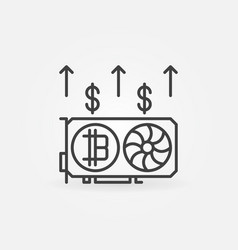 bitcoin video card mining outline concept icon or vector image vector image