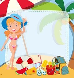 Border design with girl in bikini vector