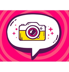 Bubble with icon of photo camera on pink vector