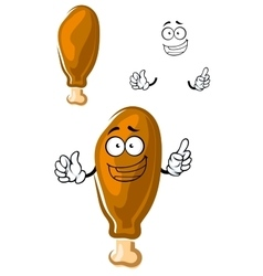 Cartoon fast food fried chicken leg vector image vector image