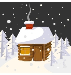 Christmas landscape with house in forest trees and vector