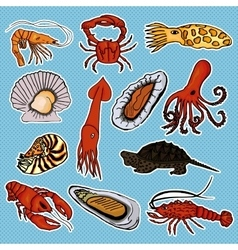 Collection sea animals for the development of vector image