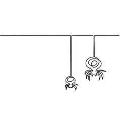 Continuous line drawing of halloween spiders vector