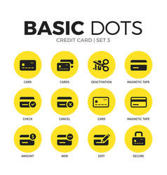Credit card flat icons set vector