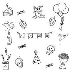Doodle art of many set birthday vector image