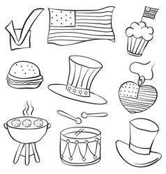 Doodle of memorial day element vector