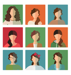 female avatar set in casual style vector image