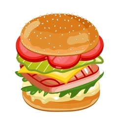Fish burger on white background vector