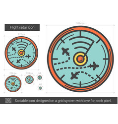 Flight radar line icon vector