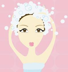 girl shampooing vector image vector image