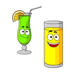 Happy cartoon glasses of fruit juice and cocktail vector image